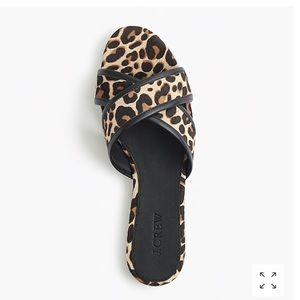 JCrew Leopard Calf Hair Crisscross Sandal